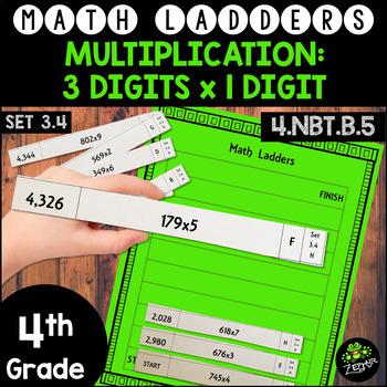 Multiplication - 3 Digits x 1 Digit -  Set 3.4 {Math Ladders}