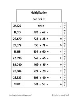 Multiplication - 3 Digits x 2 Digit -  Set 3.5 {Math Ladders}