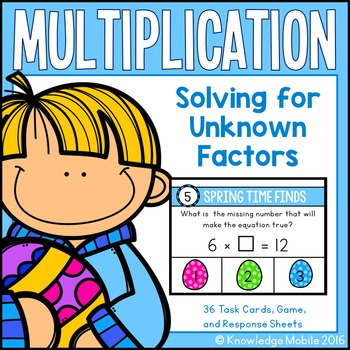 Multiplication Center Game - Solving for Unknowns - 3.OA.4