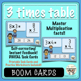 Multiplication, 3 Times Table Fluency, Boom Digital Task Cards and More!