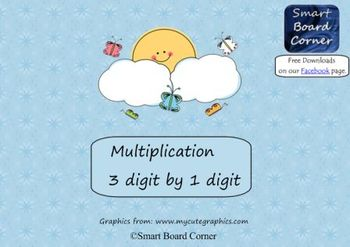 Multiplication 3 digit by 1 digit Smart Board Lesson Butterfly Theme