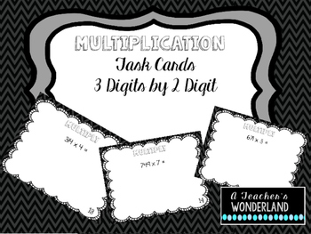Multiplication 3 digits by 2 digits Task Cards