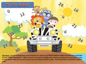 Multiplication 3's Times Table Facts Safari Center Partner Class Game