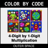 Multiplication: 4-Digit by 1-Digit - Color by Code - Outer Space
