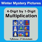 Multiplication: 4-Digit by 1-Digit - Math Mystery Pictures - Winter