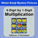 Multiplication: 4-Digit by 1-Digit - Math Mystery Pictures - Winter Emoji