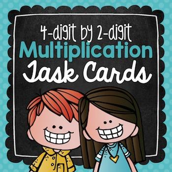 Multiplication Task Cards {4-Digit by 2-Digit} for Test Pr