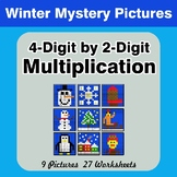 Multiplication: 4-Digit by 2-Digit - Math Mystery Pictures - Winter