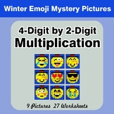 Multiplication: 4-Digit by 2-Digit - Math Mystery Pictures - Winter Emoji