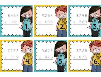 Multiplication Task Cards {4-Digit by 3-Digit}