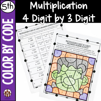 Multiplication (4 Digit by 3 Digit) Halloween Coloring Activity