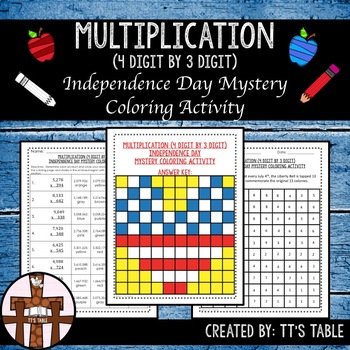 Multiplication (4 Digit by 3 Digit) Independence Day Coloring Activity