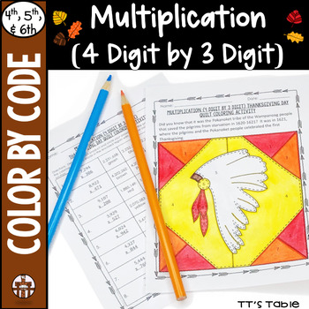 Multiplication (4 Digit by 3 Digit) Thanksgiving Day Quilt Coloring Activity
