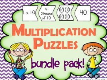 Multiplication 4 Piece Puzzle Bundle Pack x1-12