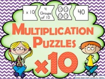 Multiplication 4 Piece Puzzles x10