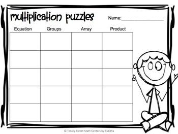 Multiplication 4 Piece Puzzles x5