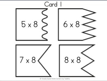 Multiplication 4 Piece Puzzles x8