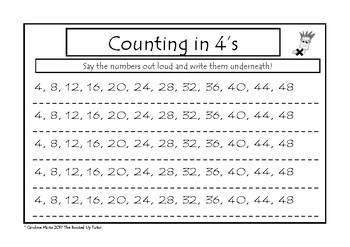 Multiplication 4 Times Table Work Packet 9 worksheets CRACK the Times Tables!