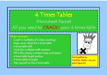 Multiplication 4 Times Table Work Packet 9 worksheets CRAC