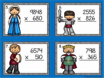 Multiplication 4 digit by 3 digit Task Cards