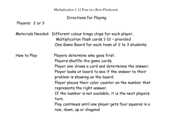 Multiplication 4 in a Row - Flash Cards