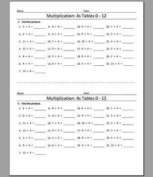 Multiplication: 4s Tables 0 - 12