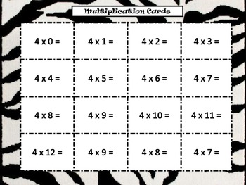 Multiplication 4's Times Facts Safari Animal Cracker Center Partner Class Game