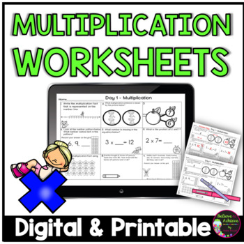 Multiplication- 5 Days of Practice (45 problems!)
