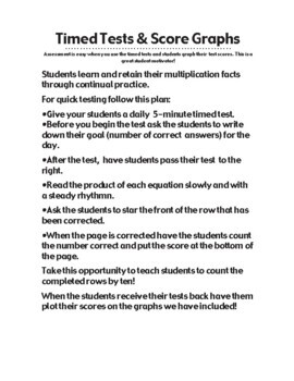 Multiplication 5-Minute Timed Test - Multiplying by 9 and Lesson Plan