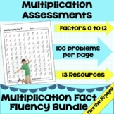 Multiplication Math Facts Timed Tests Fact Bundle  - Easel