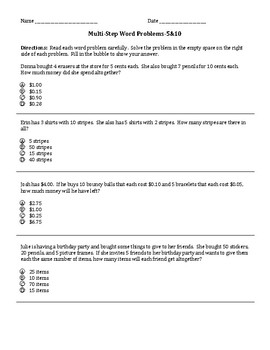 Multiplication 5 and 10s Multi-Step Problem Practice Sheets