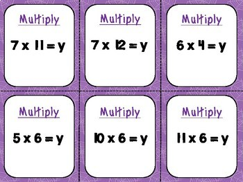 Multiplication 5 in a Row Games