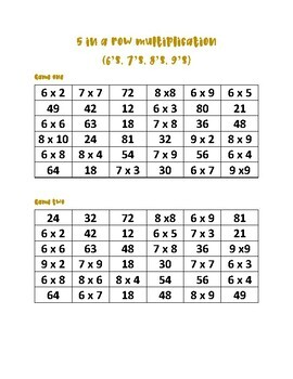 Multiplication 5 in a row game