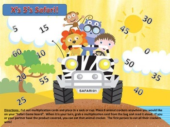 Multiplication 5's Times Table Facts Safari Center Partner Class Game!