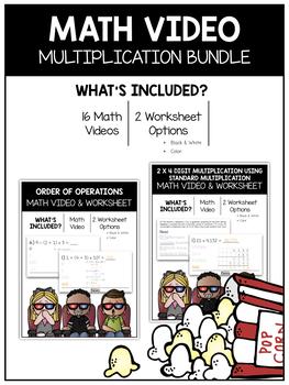 Multiplication (5th) Math Video and Worksheet Bundle
