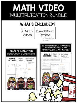 Multiplication (5th) Math Video and Worksheet Bundle / Distance Learning