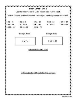 Multiplication 6 Facts (Homework Packet for the Week)