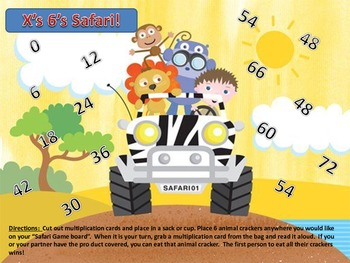Multiplication 6's Times Table Facts Safari Animal Cracker Center Partner Game!