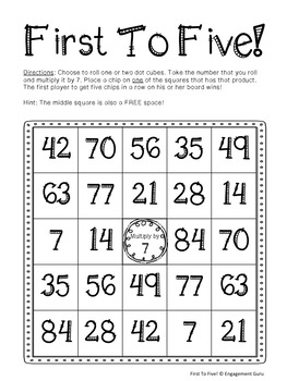 Multiplication 7s Facts Practice Game: First To Five!