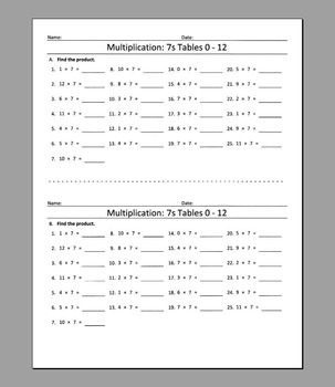 Multiplication: 7s Tables 0 - 12