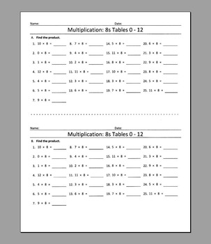 Multiplication: 8s Tables 0 - 12