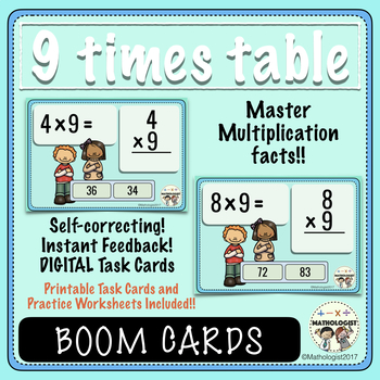 Multiplication, 9 Times Table Fluency, Boom Digital Task Cards and More!