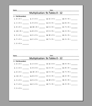 Multiplication: 9s Tables 0 - 12