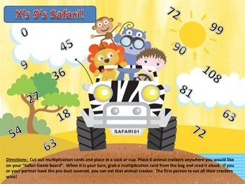 Multiplication 9's times Table facts Animal Cracker Safari Partner Center Game
