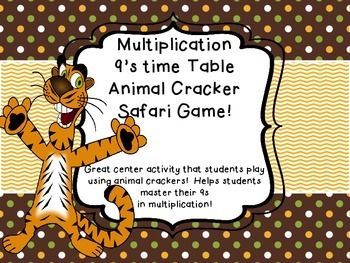 Multiplication 9's times Table facts Animal Cracker Safari