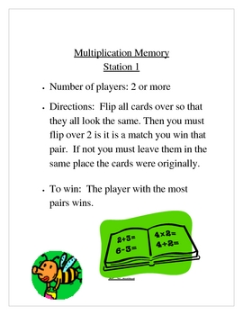 Multiplication Activities 4 centers