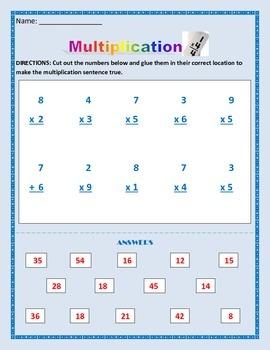 Math: Multiplication Activity - Basic: one digit X one digit