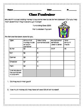 Multiplication Activity: Class Fundraiser