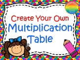Multiplication Activity - Create Your Own Multiplication Table