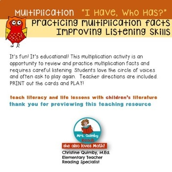 """Multiplication Activity """"I Have..Who Has?"""" - Math Practice"""